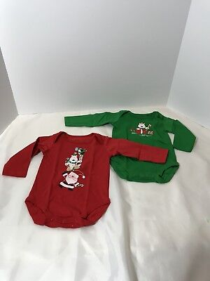 2-Pack LITTLE PLAYMATES One-Piece Long Sleeved Bodysuits Red Green Christmas