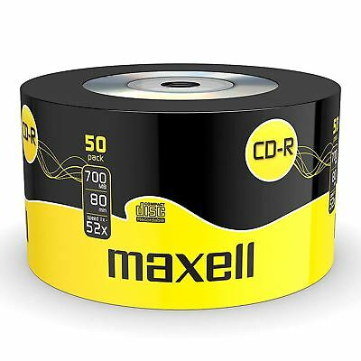 50 x Maxell Blank CD-R Discs 700MB 80 Minutes Media, 52x Speed, Extra Protection