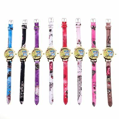 Women Owl Floral Printed Wrist Watch Round Dial Leather Strap Quartz Watches FN
