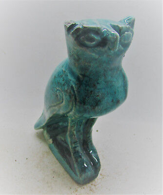 Ancient Egyptian Glazed Faience Statuette Of Horus