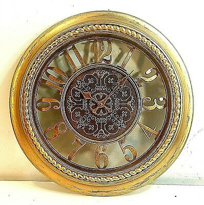 ORNATE BRASS FINISHED ROUND FRAME QUARTZ WALL CLOCK, Must See!