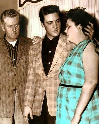 "VERNON E., ELVIS & GLADYS PRESLEY 1958 8x10"" HAND COLOR TINTED PHOTOGRAPH"