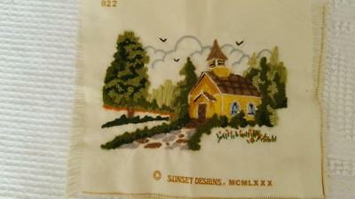 """8x7"""" FINISHED CREWEL NEEDLEWORK EMBROIDERY WOODSIDE CHURCH, SUNSET DESIGNS #822"""