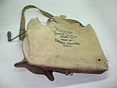 Vintage Cyclone Seed Sower Canvas Bag Shoulder Strap Hand Crank Tool Primitive
