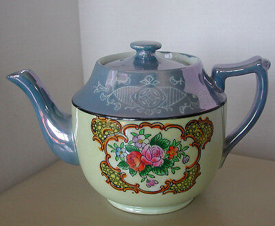 Vintage Blue And Cream Lusterware Japanese Teapot W/ Floral Decor