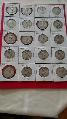 Walking Liberty Half Dollar Lot Of 20 very nice coins, circulated Priced To Sell