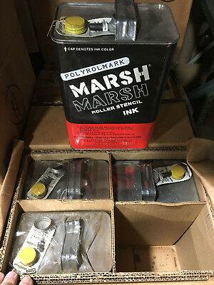 Qty of 1 case ( 4 gallons total) MARSH Polyrolmark Stencil Ink - Yellow