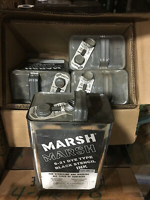 Qty of 1 case ( 4 gallons total) MARSH S-21 Dye Type Stencil Ink - Black
