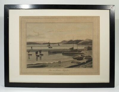 Rare Georgian Antique Engraving of Pier at Fortrose Rosshire Scottish East Coast