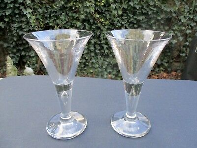 Pair of RARE Knobless-stem signed Steuben crystal Trumpet Teardrop water goblets