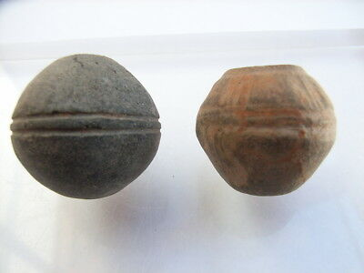2 Ancient Neolithic Clay Beads, Stone Age, VERY RARE !!  TOP !!
