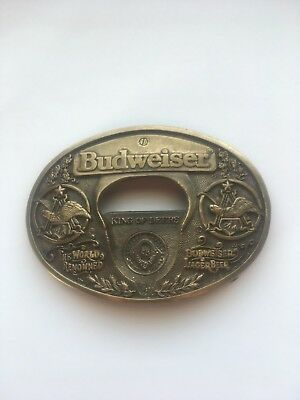 Budweiser king of beers belt buckle & bottle opener brass adm. Used
