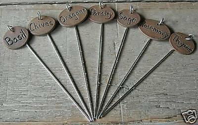 Herb / Vegetable plant garden markers on stakes Tags - set of 11 - YOUR CHOICE