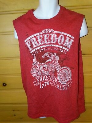 Faded Glory T-Shirt Biker Style Red ''usa Freedom'' Sizes Large Men's --New---