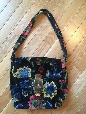 1960's vintage Tapestry/carpet bag purse with Shoulder Strap And Brass Buckle