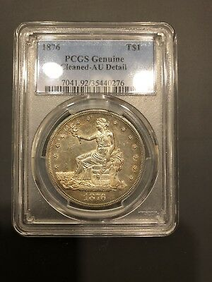 1876 T$1 PCGS AU Details Cleaned Trade Dollar