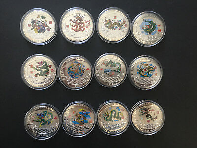 CHINA Chinese Lunar Zodiac Year of the Dragon Silver Plated Coins, Set of 12