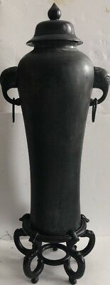Maitland Smith Cast Iron Urn Vase With Pedestal Stool Elephant Motif RARE