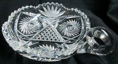 American Brilliant Cut Glass Handled Nappie With Pinwheel & Pineapple Pattern