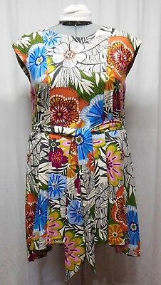 Handmade Womens Plus 1X Colorful Floral Loose Fit Pullover Cotton Belted Dress