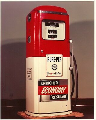 """Vintage 8"""" X 10"""" Color Photo of Pure Oil Gas Pump - Very Nice - Free Shipping"""