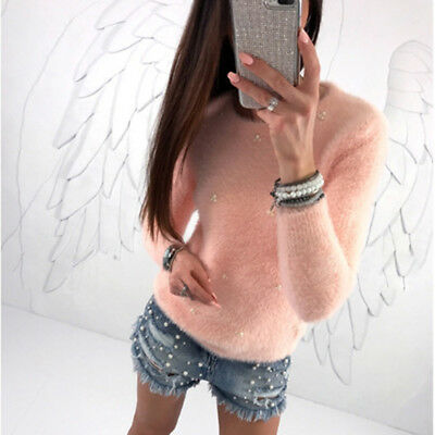 Women Autumn Winter Warm O-Neck Long Sleeve Sweaters Bead Knitted Pullover shan