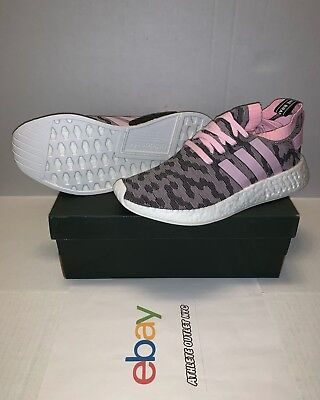 677378527 New Adidas Nmd R2 Primeknit Core Black Wonder Pink Women s Running Shoes  BY9521