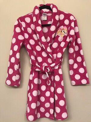 Disney Princess Girls Large 10/12 Polka Dot Pink and White Bath Robe