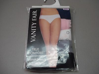 150339ac6421 NWT Women's 5 Vanity Fair Cotton Stretch Hipster Panties Size 6 Multi #487G