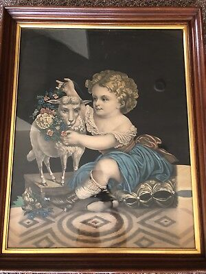"""1870's ORIGINAL ANTIQUE Hand Colored Lithograph HENRY SCHILE """"Innocence"""""""