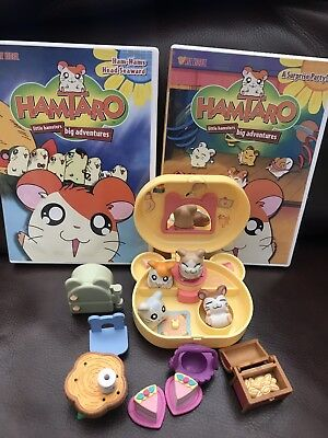 15 pc Hamtaro set 4 hamsters 2 Dvds 1 New All as pictured