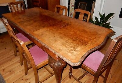 Large Reproduction 1930's Queen Anne style BurrExtendable Walnut Dining Table