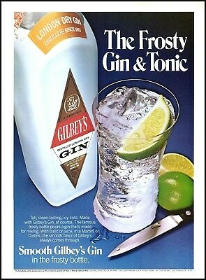 1980 Gilbey's Gin frosty gin & tonic bottle lime vintage photo Print Ad ads22