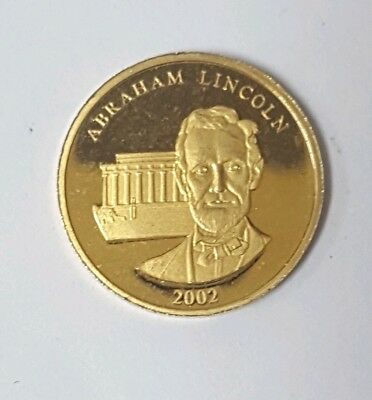 2002 Solid 14KT 585 Gold Bullion ABRAHAM LINCOLN Mini Venit Honor COIN