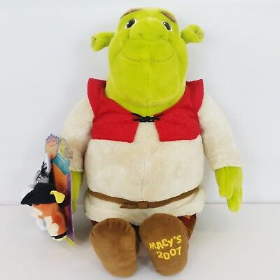 Macys 2007 Shrek Special Edition Plush Doll w/Donkey & Puss Finger Puppets Toy