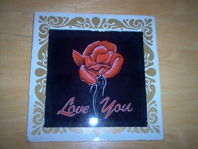 Vintage Carnival Glass Mirror Red Rose ( Love You ) Valentine's Day