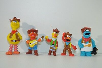 A Nice Lot of 5 Vintage Applause PVC Figures Sesame Street in Cowboy Outfit,80's