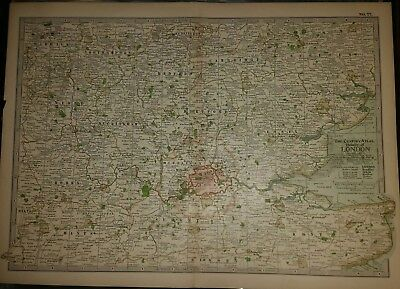 "1897 Antique Map LONDON 11-1/2 x 16"" VG Cond Century Co London City"