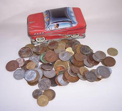 JOB LOT As Found UNSORTED OLD COINS Various Countries In Logans Red Car Tin