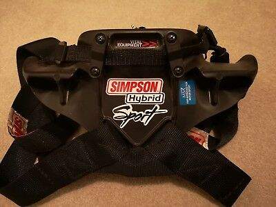 Simpson Hybrid Sport Head & Neck Restraint Large Race Rally FHR FIA HANS Catches