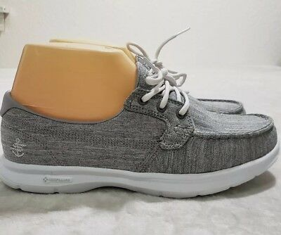 SKECHERS Goga Max Go Step Casual Sneakers Boat Shoes Women's Size 6.5 Gray NEW