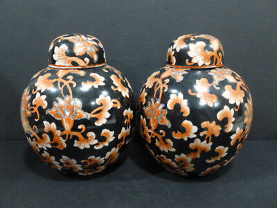 Antique Pair Of Chinese Old Porcelain( Black/orange) Chien Lung Marked Rare 6806