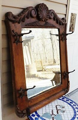 Antique Oak Hall Tree Mirror w/Hooks LOCAL PICK-UP ONLY