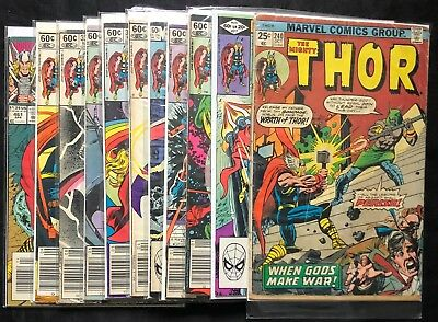 Lot Of 11 The Mighty Thor Comics (Marvel,1975-1993) #240,317,327..bronze/modern=