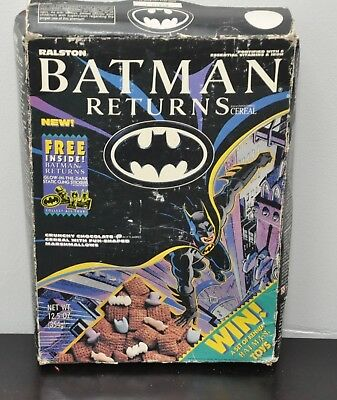 1992 Batman Returns Cereal with Glow in the Dark Static cling Stickers Unopened