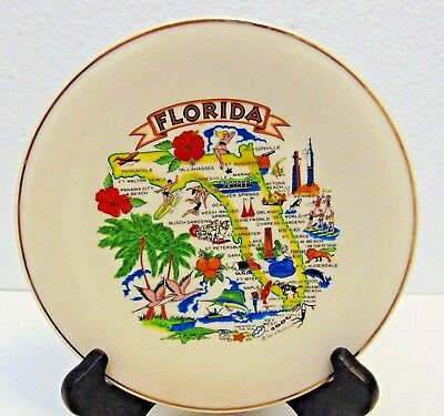 """State of Florida Map Collectible Ceramic 8"""" Plate Art Decoration Wall Decor"""