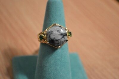 10.32ct Pinolith / Diopside Ring 14K Yellow Gold over Sterling Silver Size 8