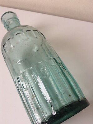 RARE SHAPED Aqua Glass Old POISON Apothecary Jar Old Chemist Bottle