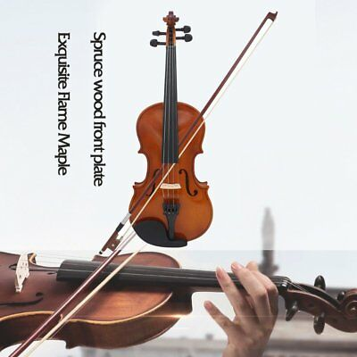 Full Size 4/4 Violin Natural Acoustic Solid Wood Violin with Case Rosin JV