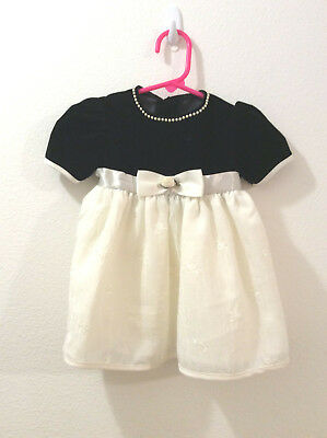 OKIE DOKIE Girls 12M Special Occasion Party Dress Black White Embroidered Bows